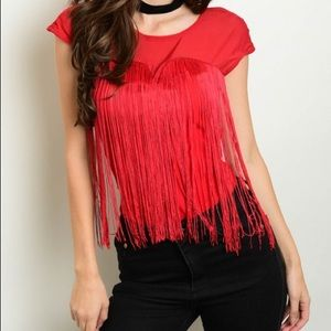 NEW RED BODY SUIT FRINGE JUNIOR M L